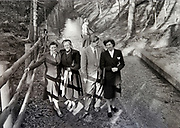 group of adult people on a nature day trip Netherlands 1950s