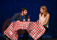 """Jimmy (Tom Pouliot) and Sandrine (Kylieh Farley) get reacquainted in the scene """"Sad and Glad"""" during dress rehearsal for """"Almost, Maine"""" with Gilford High School's Performing Arts Tuesday afternoon.  (Karen Bobotas/for the Laconia Daily Sun)"""