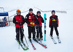 Glenshee, Scotland, United Kingdom. 3 February, 2018. New snow falls at Glenshee Ski Centre in the Cairngorms brought many skiers eager to enjoy the good calm conditions. Weather is expected to be good for the rest of the weekend and large crowds are expected to take advantage of excellent conditions. Pictured Glenshee Ski Patrol members.