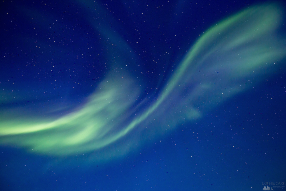 Aurora Borealis, or Northern Lights, seen over Lake Myvatn in northern Iceland