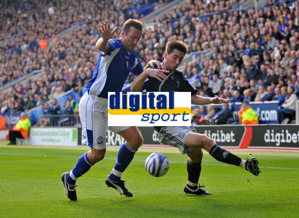 Photo: Tony Oudot/Richard Lane Photography. Leicester City v Derby County. Coca Cola Championship. 17/10/2009<br /> Steve Howard of Leicester challenges Shaun Barker of Derby to the ball