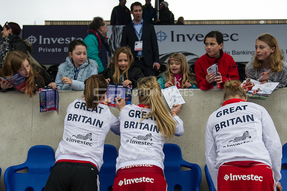 Great Britain v Japan - Investec Private Banking International, Lee Valley Hockey & Tennis Centre, London, UK on 26 April 2015. Photo: Simon Parker