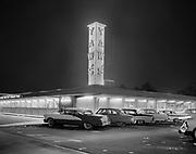 "Ackroyd 07529-12. ""J. Walter Thompson. Yaws & Irelands restaurants. March 21, 1957"" (restaurant kitchens, cooks, infra-red food servers) Yaws drive-in restaurant 2001 NE 40th"