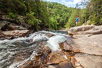 Hiker at Jacks River Falls, Cohutta Wilderness, Chattahoochee National Forest
