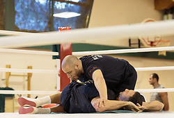 11.11.2015, Stanglwirt, Going, AUT, Wladimir Klitschko, Training, Kampfvorbereitung gegen Tyson Fury (GBR), im Bild v.l. Physiotherapeut Aldo Vetere, Wladimir Klitschko // Physiotherapeut Aldo Vetere ( L ) Coach Johnathon Banks ( C ) Wladimir Klitschko ( R ) during a training session in front of his Fight against Tyson Fury (GBR) at the Stanglwirt in Going, Austria on 2015/11/11. EXPA Pictures © 2015, PhotoCredit: EXPA/ Johann Groder