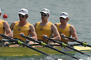 Beijing, CHINA, AUSJM4X,  Bow Angus MORTON, David Wright, Zac CLEAVER and Nicholas BARNIER, during the  2007. FISA Junior World Rowing Championships Shunyi Water Sports Complex. Wed. 08.08.2007  [Photo, Peter Spurrier/Intersport-images]..... , Rowing Course, Shun Yi Water Complex, Beijing, CHINA,