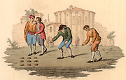 Youths playing Bumble Puppy, or Nine Holes near the Templa of Vesta, Rome, Italy.  To set up the game, the young men cut nine holes in the turf large enough to take the ball.  Money is staked and if a player does not pitch the ball into a hole, he loses his stake.  When a player pitches the ball into the centre hole, he takes all the money staked and a new game is begun. Hand coloured lithograph from 'Italian Scenery, Manners and Customs' by Buon Airetti (London, 1806).