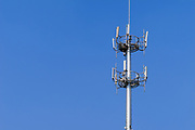GSM and CDMA cellsite base station antenna array for the cellular telephone system on a pole tower - Nanjing, China <br />