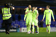 Brighton defender, Bruno Saltor (2) and Brighton central midfielder, Beram Kayal (7) celebrate at the final whistle during the Sky Bet Championship match between Birmingham City and Brighton and Hove Albion at St Andrews, Birmingham, England on 5 April 2016.