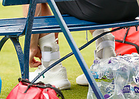 Tennis - 2019 Queen's Club Fever-Tree Championships - Day Three, Wednesday<br /> <br /> Men's Singles, First Round: Juan Martin Del Potro (ARG) Vs. Denis Shapovalov (CAN)<br /> <br /> Heavy strapping to the ankles of Andy Murray (GBR) as he prepares to warm up.<br />  <br /> COLORSPORT/DANIEL BEARHAM