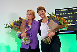 © Licensed to London News Pictures. 07/09/2012. Bristol, UK. Left-right: Natalie Bennett, new leader of the Green Party, with Caroline Lucas, the outgoing leader of the Green Party, at the Green Party conference at the Council House in Bristol.  07 September 2012..Photo credit : Simon Chapman/LNP