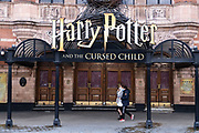 Closed doors of the Palace Theatre which is showing Harry Potter and the Cursed Child in the West End as the national coronavirus lockdown three continues and theatres have to remain shut on 28th January 2021 in London, United Kingdom. Following the surge in cases over the Winter including a new UK variant of Covid-19, this nationwide lockdown advises all citizens to follow the message to stay at home, protect the NHS and save lives.