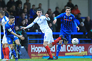 Ian Henderson loses the ball under pressure during the The FA Cup 2nd round match between Rochdale and Portsmouth at Spotland, Rochdale, England on 2 December 2018.