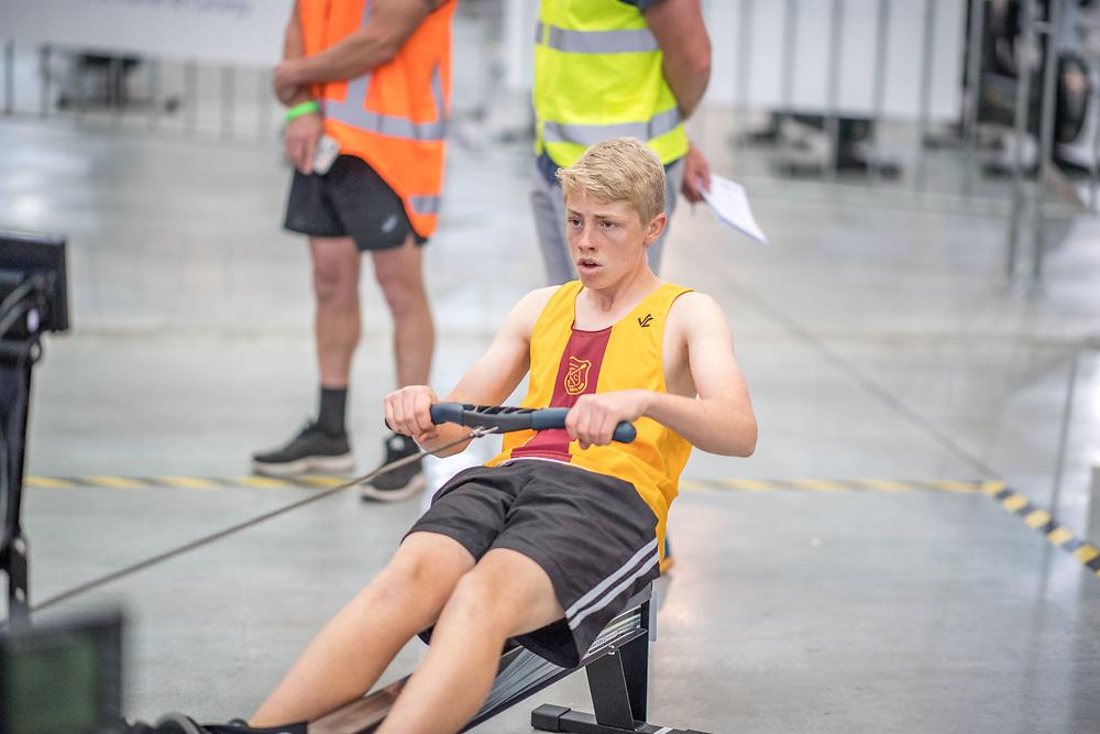 Scott Clark MALE HEAVYWEIGHT U15 2K Race #4  09:15am<br /> <br /> <br /> www.rowingcelebration.com Competing on Concept 2 ergometers at the 2018 NZ Indoor Rowing Championships. Avanti Drome, Cambridge,  Saturday 24 November 2018 © Copyright photo Steve McArthur / @RowingCelebration