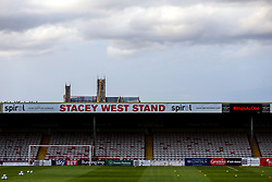 A general view of Sincil Bank Stadium, home to Lincoln City being over looked by Lincoln Cathedral - Mandatory by-line: Robbie Stephenson/JMP - 13/07/2018 - FOOTBALL - Sincil Bank Stadium - Lincoln, England - Lincoln City v Sheffield Wednesday - Pre-season friendly