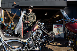 Shinji Ueda with his custom Harley-Davidson Panhead at his Blacktop Motorcycles in Tokyo, Japan photographed after the Mooneyes Yokohama Hot Rod & Custom Show on Tuesday, December 6, 2016.  Photography ©2016 Michael Lichter.