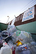 Plastic bottles in a recycling bin, Santa Monica, Los Angeles, California, USA