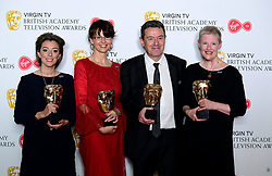 Winner of best Mini Series for Three Girls, Nicole Taylor, Philippa Lowthorpe, Susan Hogg and Simon Lewis in the press room at the Virgin TV British Academy Television Awards 2018 held at the Royal Festival Hall, Southbank Centre, London.