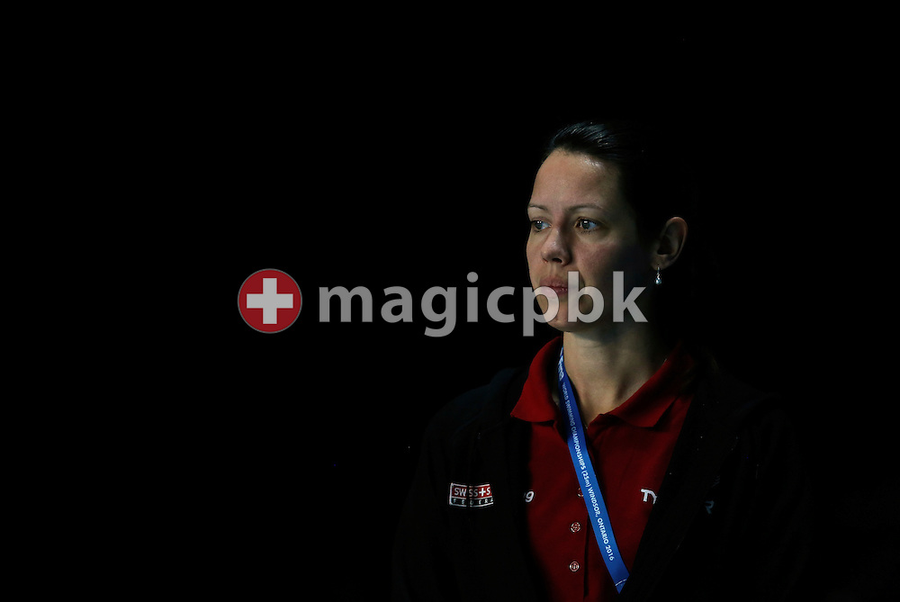 Swiss Swimming osteopath Nicola POULSEN of Denmark looks on during a training session 1 day prior to the start of the 13th Fina World Short Course Swimming Championships held at the WFCU Centre in Windsor, Ontario, Canada, Sunday, Dec. 4, 2016. (Photo by Patrick B. Kraemer / MAGICPBK)