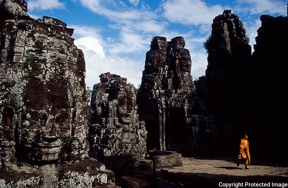 Angkor . Angkor Thom  complex . Stone face at  Bayon temple . Siemp Reap . Cambodia .