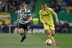 February 14, 2019 - Lisbon, Portugal - Stefan Ristovski of Sporting CP (L) vies for the ball with Pablo Fornals of Villarreal FC (R) during the Europa League 2018/2019 footballl match between Sporting CP vs Villarreal FC. (Credit Image: © David Martins/SOPA Images via ZUMA Wire)