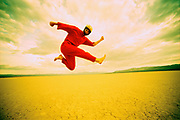 Red Jump Suit Dancer Flying