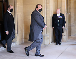 Prince Donatus, Landgrave of Hesse (left) and Prince Philipp, of Hohenlohe-Langenburg ahead of the funeral of the Duke of Edinburgh at Windsor Castle, Berkshire. Picture date: Saturday April 17, 2021.