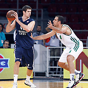 Anadolu Efes's Stanko BARAC (L) and Panathinaikos's Aleksandar MARIC (R) during their Two Nations Cup basketball match Anadolu Efes between Panathinaikos at Abdi Ipekci Arena in Istanbul Turkey on Saturday 01 October 2011. Photo by TURKPIX