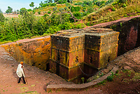 Beta Giyorgis (St. George's Church), Lalibela, Ethiopia. It is the best known and last built of the eleven rock-hewn monolithic churches in Lalibela