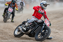 Hooligan flattracker Joe Kopp (no. 3) on his Harley-Davidson XG750R Flat Tracker in the Hooligan races on the temporary track in front of the Sturgis Buffalo Chip main stage during the Sturgis Black Hills Motorcycle Rally. SD, USA. Wednesday, August 7, 2019. Photography ©2019 Michael Lichter.