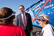 Aug 9, 2010 - SUN CITY WEST, AZ: Congressman TRENT FRANKS, (R-AZ) talks to people from his district at the Spending Revolt Bus event in Sun City West, AZ, Monday. Franks, a fiscal and social conservative, said he's voted against every one of the stimulus bills enacted by the administration. The Spending Revolt Bus stopped in Sun City West, a retirement community northwest of Phoenix, Monday. Spending Revolt is a new coalition of taxpayers and business owners concerned about government spending. The bus is attracting Republican and Tea Party affiliated candidates to its events. The bus has crisscrossed Nevada, California and Arizona and is heading east to Washington DC.   Photo by Jack Kurtz / ZUMA Press