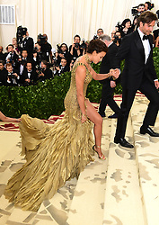 Irina Shayk and Bradley Cooper attending the Metropolitan Museum of Art Costume Institute Benefit Gala 2018 in New York, USA. PRESS ASSOCIATION Photo. Picture date: Picture date: Monday May 7, 2018. See PA story SHOWBIZ MET Gala. Photo credit should read: Ian West/PA Wire