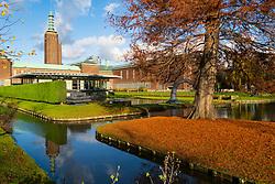 Garden and lake at the Museum Boijmans van Beuningen in Rotterdam The Netherlands