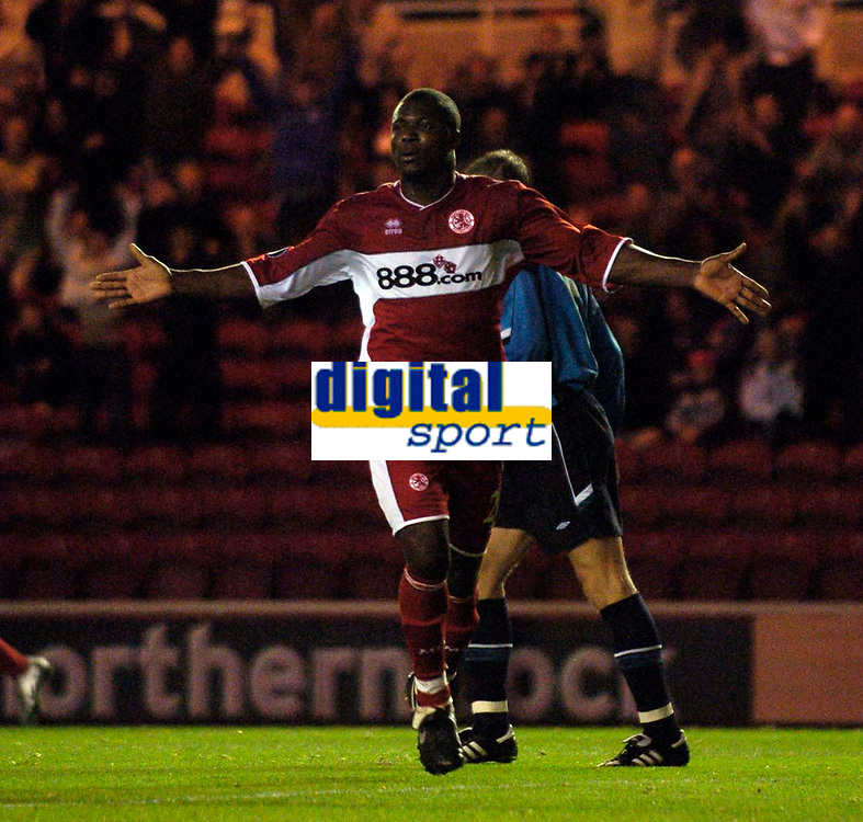 Photo: Jed Wee.<br />Middlesbrough v Dnipro. UEFA Cup. 03/11/2005.<br /><br />Middlesbrough's Yakubu celebrates his goal.