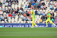 Cricket - 2019 ICC Cricket World Cup warm ups - England vs. Australia<br /> <br /> Steve Smith of Australia raises his hand in apology to team mates after another miss field costs his side at the Ageas Bowl Southampton England<br /> <br /> COLORSPORT/SHAUN BOGGUST