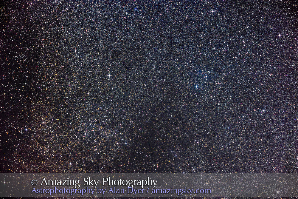 The pair of large and loose star clusters on the Serpens-Ophiuchus border known as the S-O Double Cluster. IC 4756 is at left; NGC 6633 is at right. Both are fine targets for binoculars. The 7.5 x 5° field is close to a binocular field of view. <br /> <br /> This is a stack of 10 x 6-minute exposures with the SharpStar 61mm apo refractor at f/4.5 and with the Canon R6 at ISO 800. Taken from home Oct 3, 2021. Diffraction spikes added with Astronomy Tools actions.