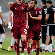 Trabzonspor's Mustafa Yumlu (L) and Erkan Zengin (R) during their Turkish Super League soccer derby match Besiktas between Trabzonspor at the Ataturk Olimpiyat stadium in Istanbul Turkey on Saturday, 22 August 2015. Photo by Aykut AKICI/TURKPIX
