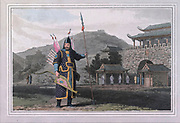 A CHINESE MILITARY OFFICER. The conspicuous personage encumbered with military accoutrements is an officer of exalted rank. Over the usual dress is his uniform, consisting of an embroidered silk robe. In a case suspended to his side he carries the bow, which is made of wood, covered with horn; and on the other side his quiver with arrows. colour print from the book ' A Picturesque Voyage to India by Way of China  ' by Thomas Daniell, R.A. and William Daniell, A.R.A. London : Printed for Longman, Hurst, Rees, and Orme, and William Daniell by Thomas Davison, 1810. The Daniells' original watercolors for the scenes depicted herein are now at the Yale Center for British Art, Department of Rare Books and Manuscripts,