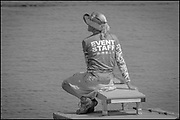 Sarasota. Florida USA.  Volunteer Boat Holder waiting for the next race. at the start at the 2017 FISA World Rowing Championships, Nathan Benderson Park<br /> <br /> Tuesday  26.09.2017   <br /> <br /> [Mandatory Credit. Peter SPURRIER/Intersport Images].
