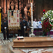 MILAN, ITALY - JUNE 14:  The coffin of Monsignor Padovese lays on the floor at the Duomo on the day of his funeral on June 14, 2010 in Milan, Italy. Monsignor Luigi Padovese Bishop in Anatolia was murdered by his own driver on June 3rd in Iskenderun, Turkey ***Agreed Fee's Apply To All Image Use***<br /> Marco Secchi /Xianpix<br />  tel +44 (0) 207 1939846<br />  e-mail ms@msecchi.com <br /> www.marcosecchi.com
