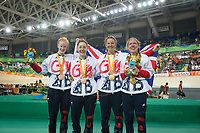 20160911 Copyright onEdition 2016©<br /> Free for editorial use image, please credit: onEdition<br /> <br /> Cyclist Lora Turnham (Tandem B) from Liverpool, Cyclist Corrine Hall from Mitcham, London wins a gold medal, Sophie Thornhill (Tandem B) from Poynton, Stockport , Cyclist Helen Scott from Halesowen win a bronze medal competing for ParalympicsGB at the Rio Paralympic Games 2016.<br />  <br /> ParalympicsGB is the name for the Great Britain and Northern Ireland Paralympic Team that competes at the summer and winter Paralympic Games. The Team is selected and managed by the British Paralympic Association, in conjunction with the national governing bodies, and is made up of the best sportsmen and women who compete in the 22 summer and 4 winter sports on the Paralympic Programme.<br /> <br /> For additional Images please visit: http://www.w-w-i.com/paralympicsgb_2016/<br /> <br /> For more information please contact the press office via press@paralympics.org.uk or on +44 (0) 7717 587 055<br /> <br /> If you require a higher resolution image or you have any other onEdition photographic enquiries, please contact onEdition on 0845 900 2 900 or email info@onEdition.com<br /> This image is copyright onEdition 2016©.<br /> <br /> This image has been supplied by onEdition and must be credited onEdition. The author is asserting his full Moral rights in relation to the publication of this image. Rights for onward transmission of any image or file is not granted or implied. Changing or deleting Copyright information is illegal as specified in the Copyright, Design and Patents Act 1988. If you are in any way unsure of your right to publish this image please contact onEdition on 0845 900 2 900 or email info@onEdition.com