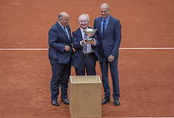 Bernard GIUDICELLI (FFT president), Rod Laver, Guy FORGET(tournament director), (Australis's Tennis Legend Rod Laver (center) got a commemorative trophy before the1/2 final of the 2019 BNP Paribas Tennis French Open, in the Roland-Garros Stadium, Paris, France, on June 7th, 2019. Photo by ABACAPRESS.COM