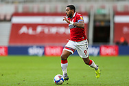 Portrait of Middlesbrough forward Britt Assombalonga (9)  during the EFL Sky Bet Championship match between Middlesbrough and Birmingham City at the Riverside Stadium, Middlesbrough, England on 16 January 2021.