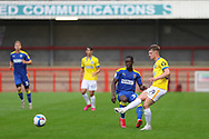Brighton and Hove Albion defender Sam Packham (59) from AFC Wimbledon defender Paul Osew (37) during the EFL Trophy Southern Group G match between AFC Wimbledon and Brighton and Hove Albion U21 at The People's Pension Stadium, Crawley, England on 22 September 2020.