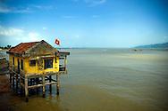 Concrete stilt house on the river Cai in Nha Trang, Vietnam, Asia