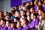 05 MARCH 2010 -- PHOENIX, AZ: People wait to hear US Senators John McCain and Scott Brown at Grand Canyon University in Phoenix Friday. McCain is facing a tough primary battle from former Republican Congressman JD Hayworth. McCain has Scott Brown (R-MA) and Sarah Palin campaigning for him. Both men are courting the Tea Party activists but so far the Tea Party has refused to endorse either candidate.     PHOTO BY JACK KURTZ