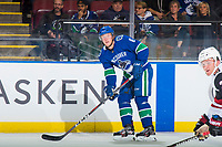 KELOWNA, BC - SEPTEMBER 29: Brock Boeser #6 of the Vancouver Canucks looks for the pass against the Arizona Coyotes at Prospera Place on September 29, 2018 in Kelowna, Canada. (Photo by Marissa Baecker/NHLI via Getty Images)  *** Local Caption *** Brock Boeser
