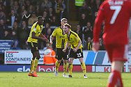 Burton Albion defender Kyle McFadzean (5) scores a goal from a direct free kick and celebrates 2-2 with Burton Albion midfielder Stephen Quinn (23) and Burton Albion forward Lucas Akins (10) during the EFL Sky Bet League 1 match between Burton Albion and Accrington Stanley at the Pirelli Stadium, Burton upon Trent, England on 23 March 2019.