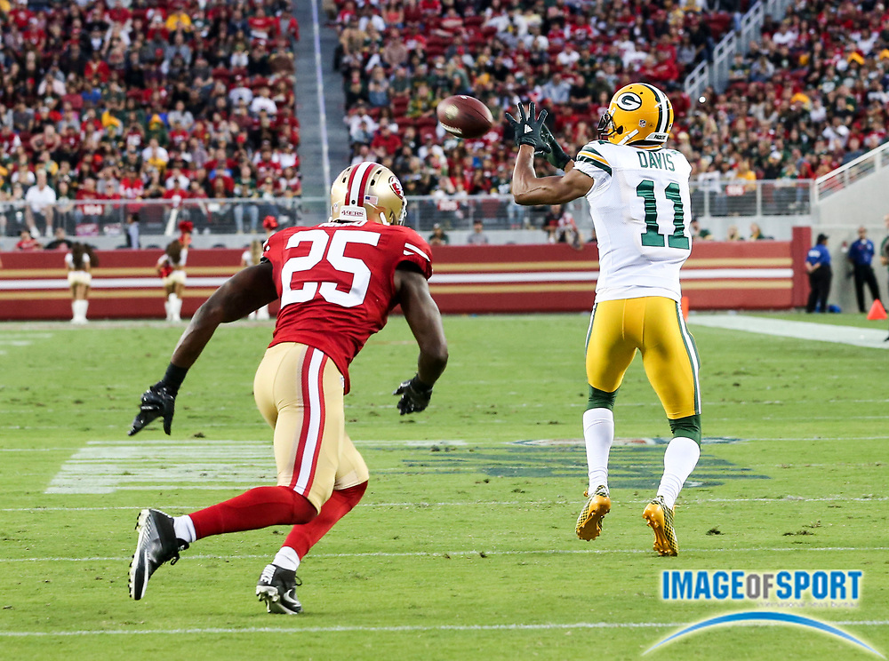 Aug 26, 2016, Santa Clara, CA, USA; Green Bay Packers wide receiver Trevor Davis (11) catches a pass for 9 yards in the first quarter against the San Francisco 49ers in a preseason NFL game at Levi's Stadium. Green Bay beat San Francisco 21-10.