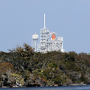 Space shuttle Discovery sits on the pad at the Kennedy Space Center in Cape Canaveral, Fla., Thursday, Feb. 24, 2011.  (AP Photo/Alex Menendez)